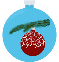 christmas tree branch with red ball isolated on vector image vector image