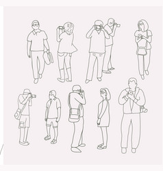 Collection of people taking pictures with photo vector