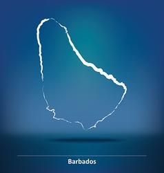 Doodle Map of Barbados vector image