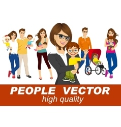 men and woman holding their babies smiling vector image