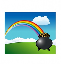 rainbow pot of gold vector image vector image