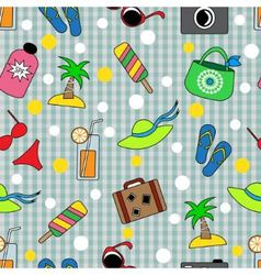 Seamless background with different beach items vector image vector image
