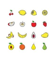 Set color line icons fruit vector image