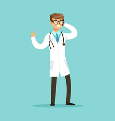 smiling doctor character standing and talking on vector image vector image