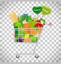 Supermarket shopping cart with products vector