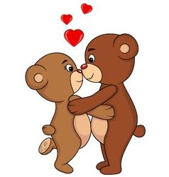 Bear couple kissing vector image vector image