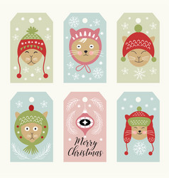cute cats christmsa cards vector image