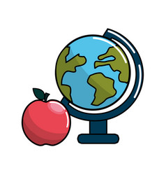 earth planet desk and apple icon vector image vector image