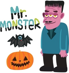 Halloween monster character with pumpkin and bat vector image vector image