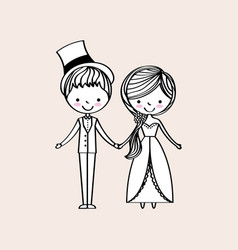 just married happy vector image vector image