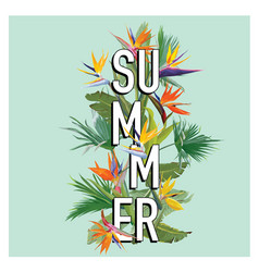 palm leaves and tropical flowers summer background vector image vector image