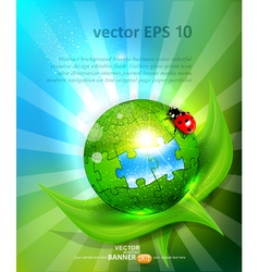 puzzles lying on green leaf with ladybug vector image vector image