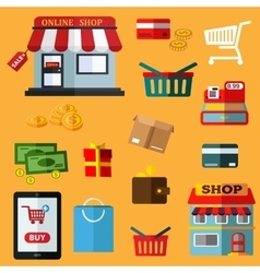 Shopping and retail flat icons vector image vector image