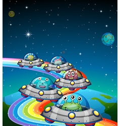 Aliens flying in the UFO vector image vector image