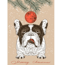 Christmas card with french bulldog vector