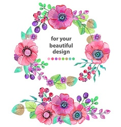 Colorful floral card with leaves and flowers vector image vector image