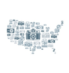 Retro photo cameras in USA shape vector image vector image