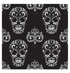 Skull and Spades Ornamental Pattern vector image vector image
