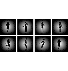 Abstract female silhouettes with background vector image