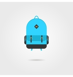 blue backpack icon with shadow vector image vector image