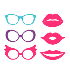 glasses and lips collection vector image vector image