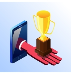 Isometric smartphone showing hand with prize cup vector image vector image