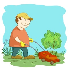 lawn mower man vector image