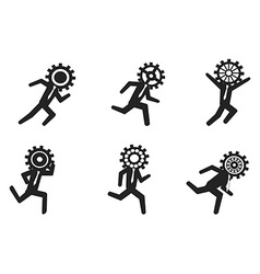 running businessman with gear head vector image vector image