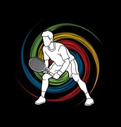 tennis player action man play tennis vector image