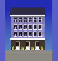 A multi-storey dwelling house made of blue bricks vector
