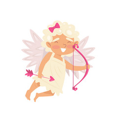 adorable cupid flying with pink bow and arrows vector image