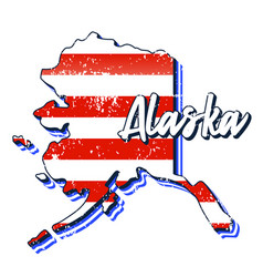 american flag in alaska state map grunge style vector image