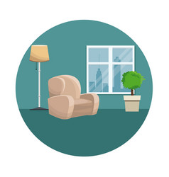 Armchair pot plant floor lamp window urban view vector