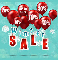 balloons and discounts on winter sale background vector image