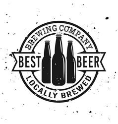 Beer bottles round emblem label or logo vector