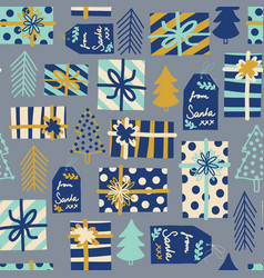 Blue christmas seamless background gift vector
