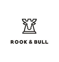Bull deer moose antler chess rook fortress logo vector