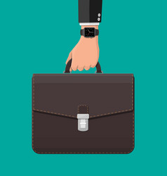 businessman with smart watch and suitcase in hand vector image