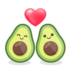 cartoon avocado couple in love isolated on white vector image