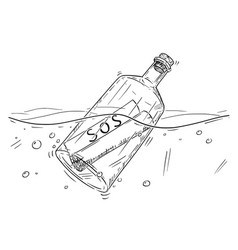 Cartoon drawing of sos message in bottle floating vector