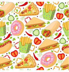 Cartoon fast food seamless pattern vector