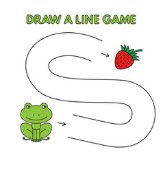 cartoon frog draw a line game for kids vector image