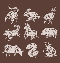 Chinese zodiac eastern calendar traditional china vector