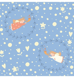 Christmas angels seamless pattern vector image