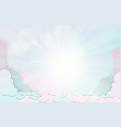 Cloud on sky with flare light origami made paper vector