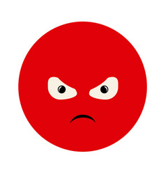 Colorful emoticon furious face expression vector