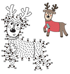 connect the dots and draw a cute deer vector image