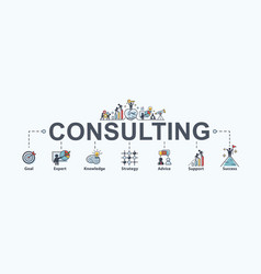 Consulting banner web icon for business goal vector