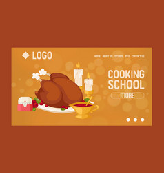 Cooking school courses online website design vector