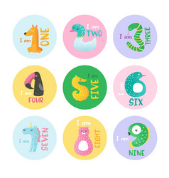 Cute animal numbers from 1 to 9 stickers vector